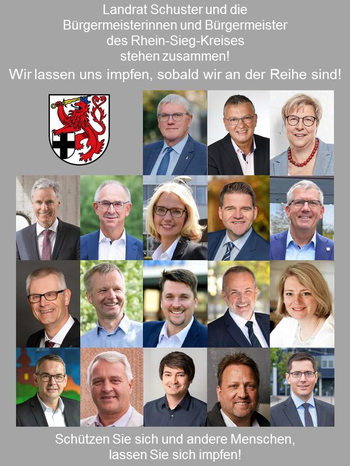 Foto mit den Bürgermeistern und dem Impfaufruf